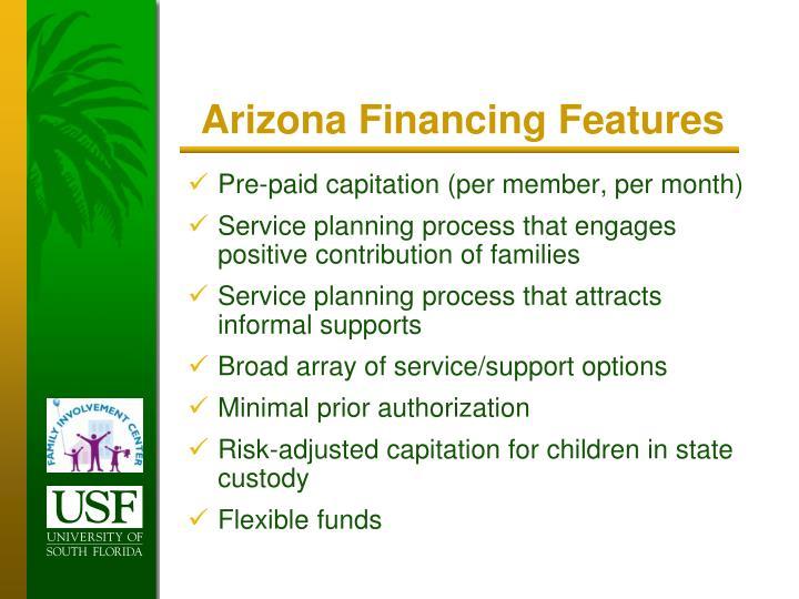 Arizona Financing Features