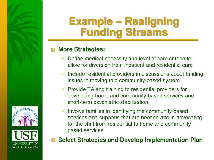 Example – Realigning Funding Streams