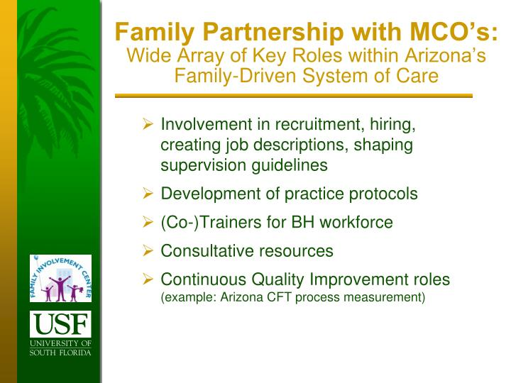 Family Partnership with MCO's: