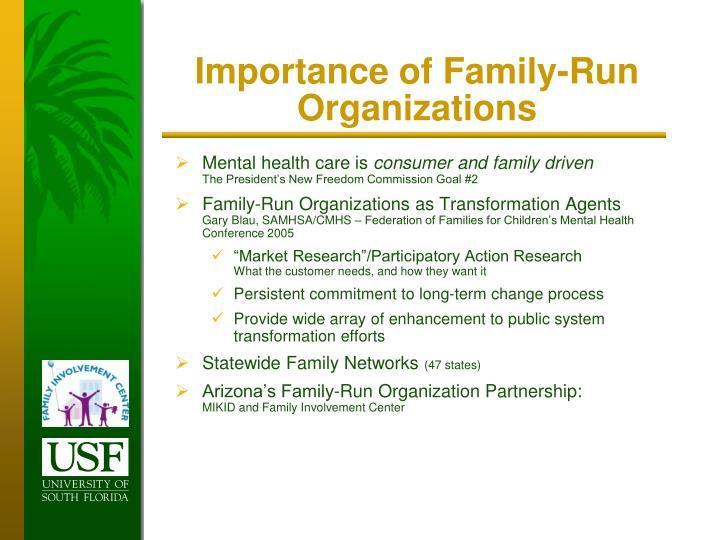 Importance of Family-Run Organizations