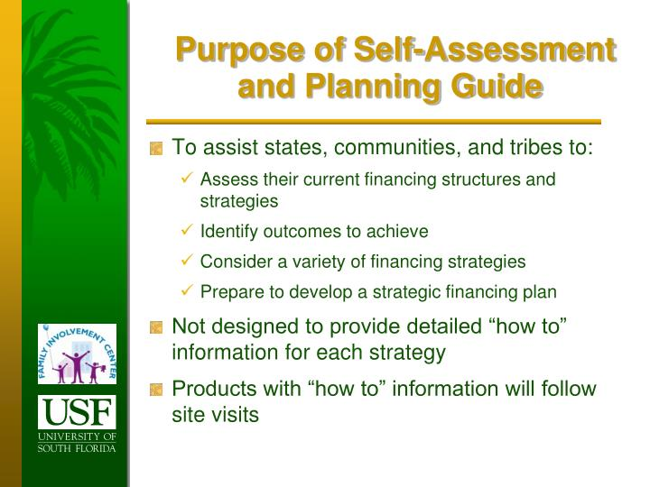 Purpose of Self-Assessment and Planning Guide