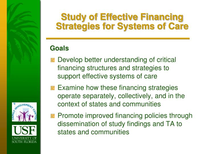 Study of Effective Financing Strategies for Systems of Care
