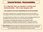 covered services documentation