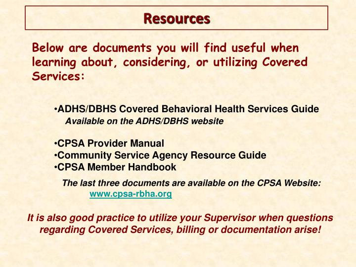 Below are documents you will find useful when learning about, considering, or utilizing Covered Services: