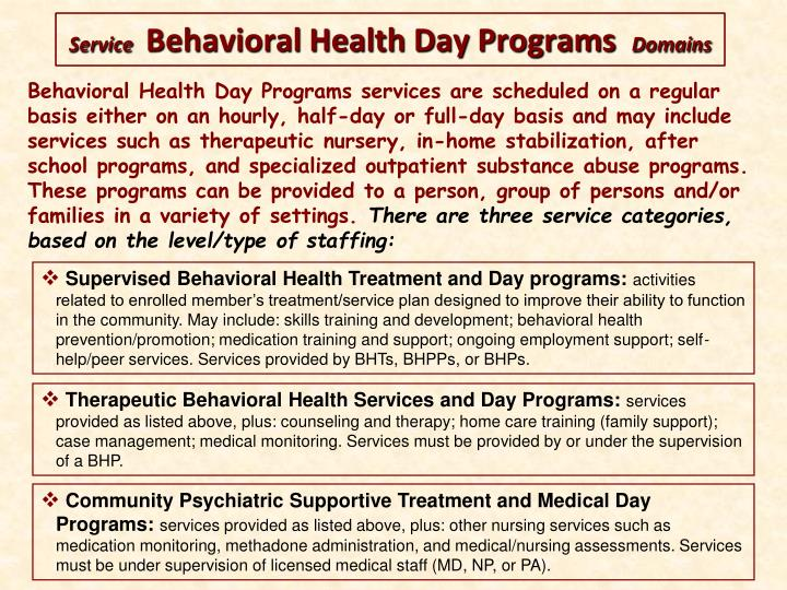 Behavioral Health Day Programs services are scheduled on a regular basis either on an hourly, half-day or full-day basis and may include services such as therapeutic nursery, in-home stabilization, after school programs, and specialized outpatient substance abuse programs. These programs can be provided to a person, group of persons and/or families in a variety of settings.