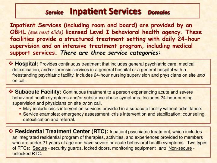 Inpatient Services (including room and board) are provided by an OBHL
