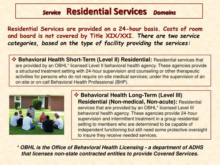 Residential Services are provided on a 24-hour basis. Costs of room and board is not covered by Title XIX/XXI.