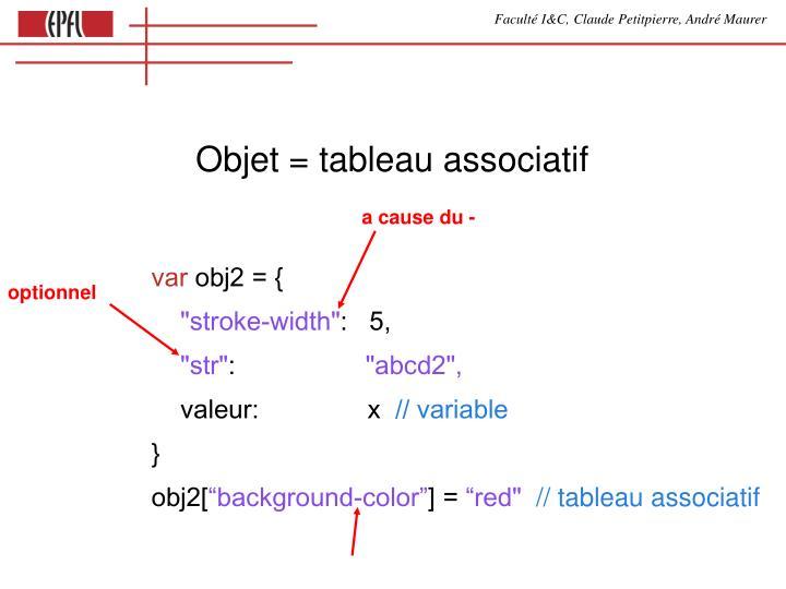 Objet = tableau associatif