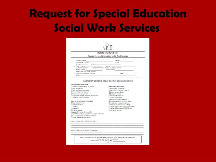 Request for Special Education Social Work Services