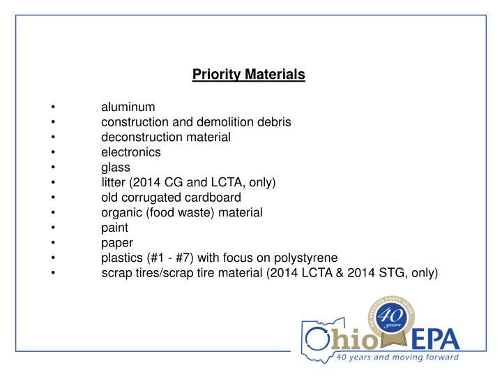 Priority Materials