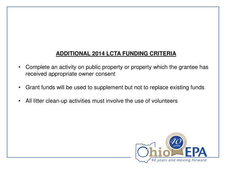 ADDITIONAL 2014 LCTA FUNDING CRITERIA