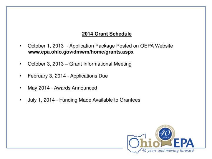 2014 Grant Schedule