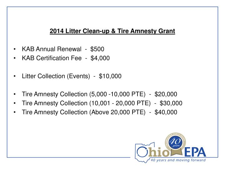 2014 Litter Clean-up & Tire Amnesty Grant