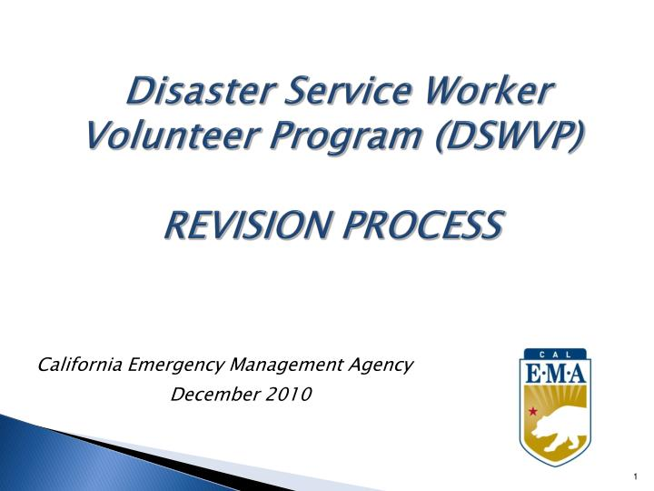 Disaster service worker volunteer program dswvp revision process