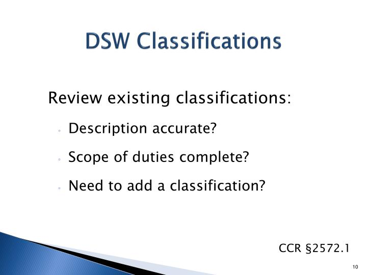 DSW Classifications