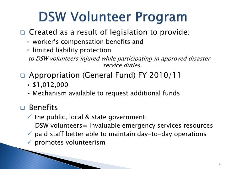 Dsw volunteer program