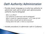 oath authority administration
