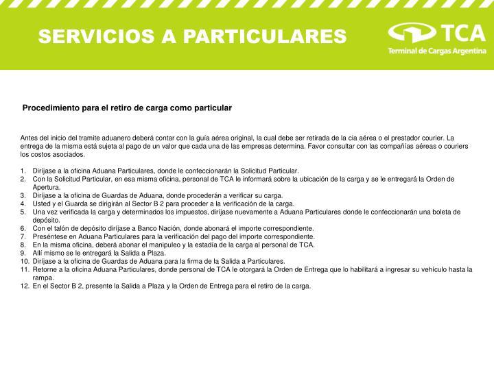 SERVICIOS A PARTICULARES