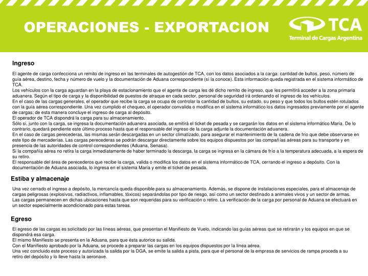 OPERACIONES - EXPORTACION