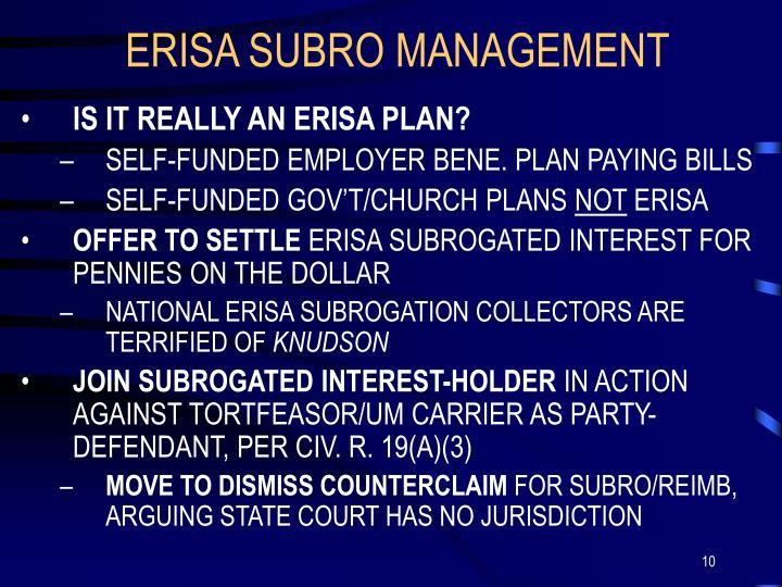 ERISA SUBRO MANAGEMENT
