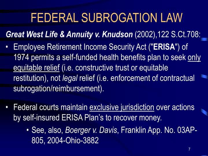 FEDERAL SUBROGATION LAW
