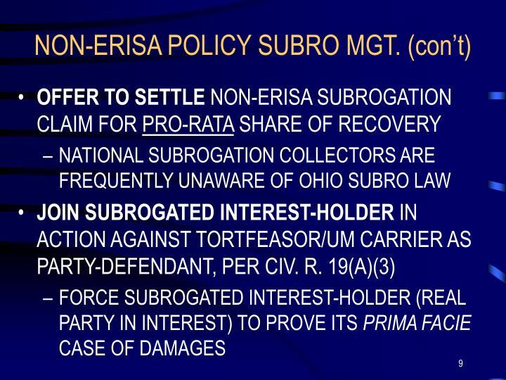 NON-ERISA POLICY SUBRO MGT. (con't)