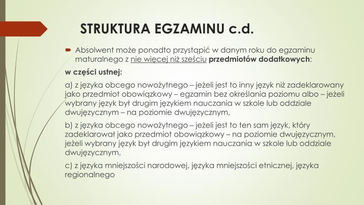 STRUKTURA EGZAMINU c.d.