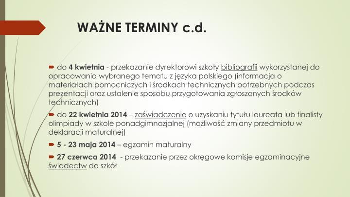WAŻNE TERMINY c.d.