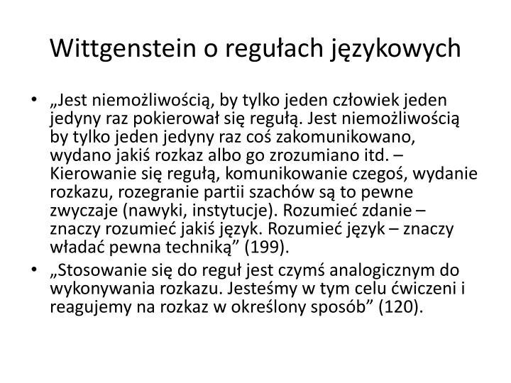 Wittgenstein o regułach językowych