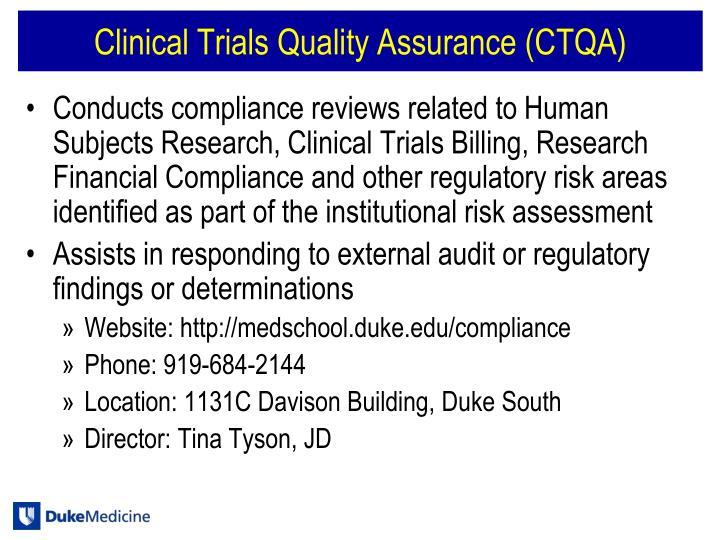 Clinical Trials Quality Assurance (CTQA)