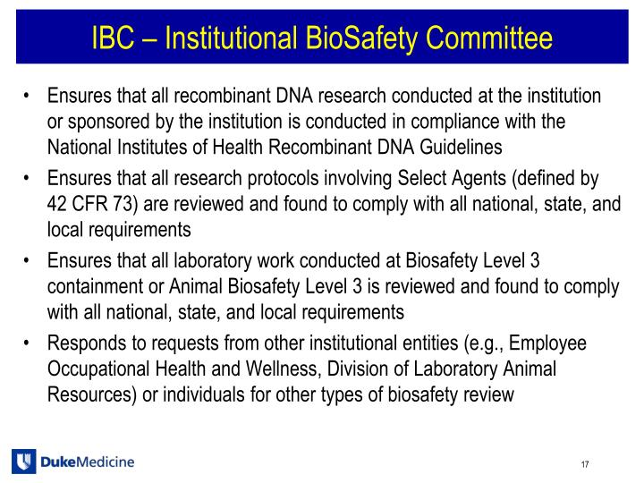 IBC – Institutional BioSafety Committee