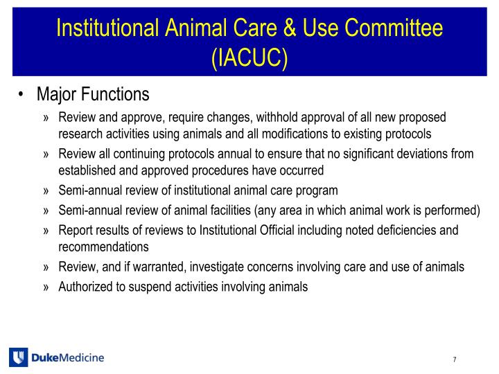 Institutional Animal Care & Use Committee (IACUC)