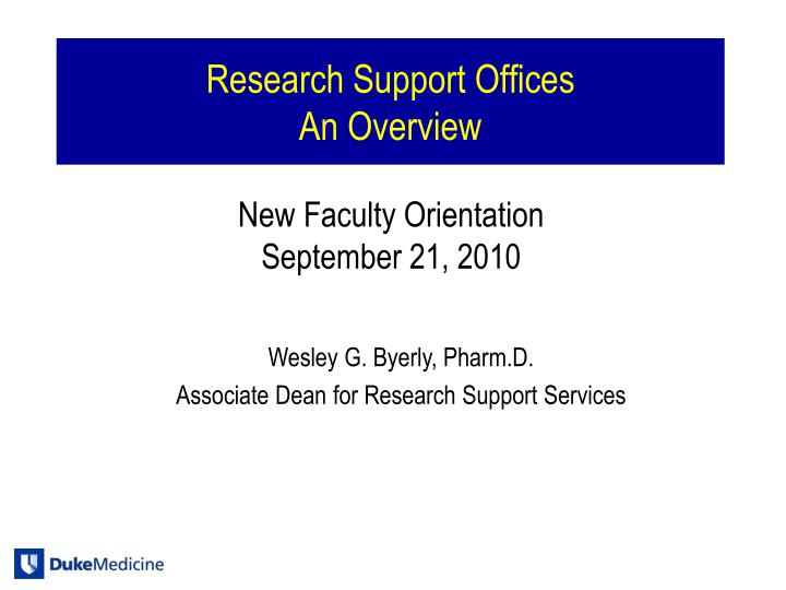 Research support offices an overview