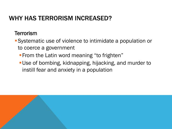Why Has Terrorism Increased?