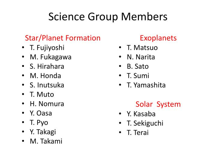 Science Group Members