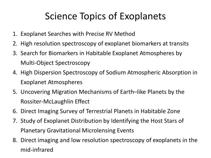 Science Topics of
