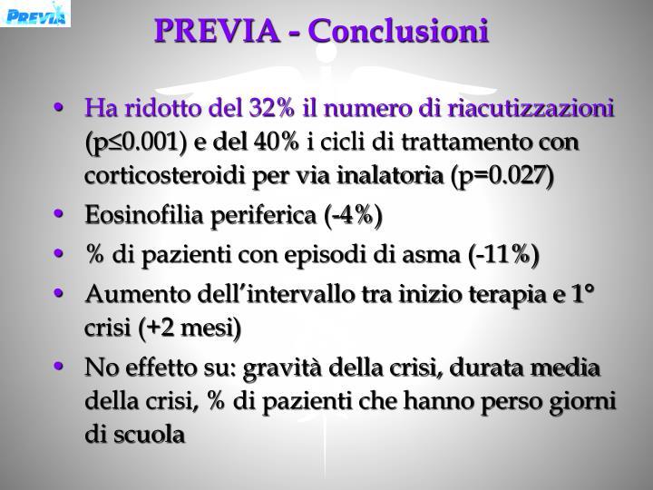 PREVIA - Conclusioni