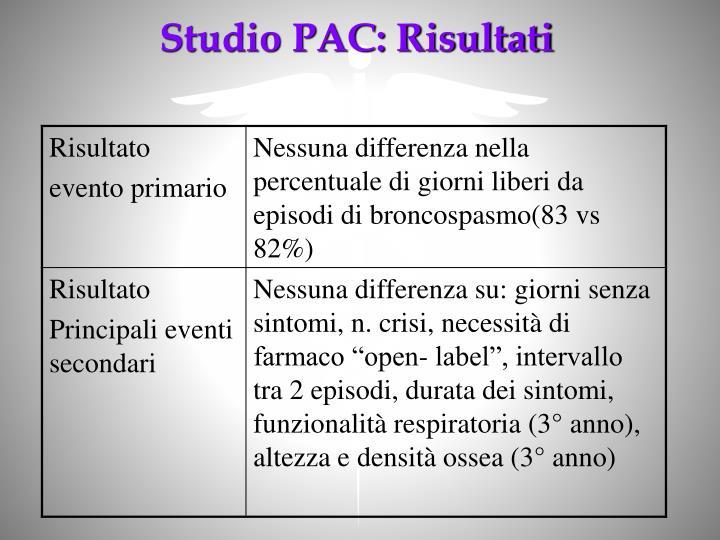 Studio PAC: Risultati