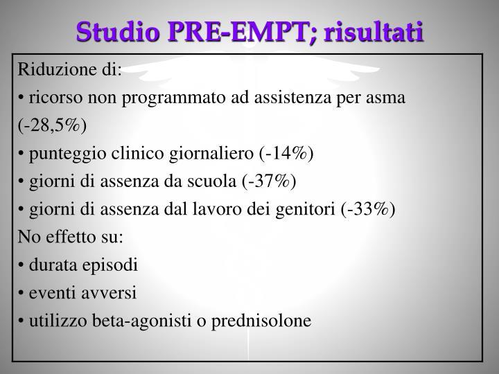 Studio PRE-EMPT; risultati