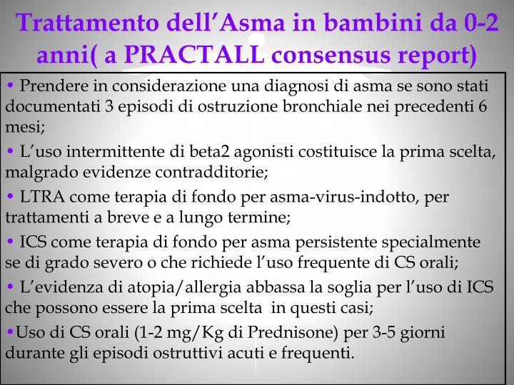 Trattamento dell'Asma in bambini da 0-2 anni( a PRACTALL consensus report)