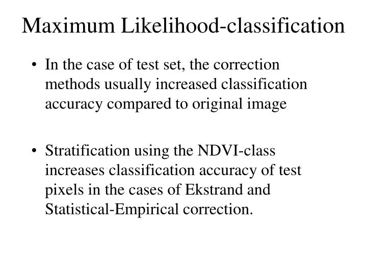 Maximum Likelihood-classification