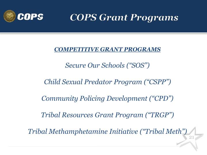 COPS Grant Programs