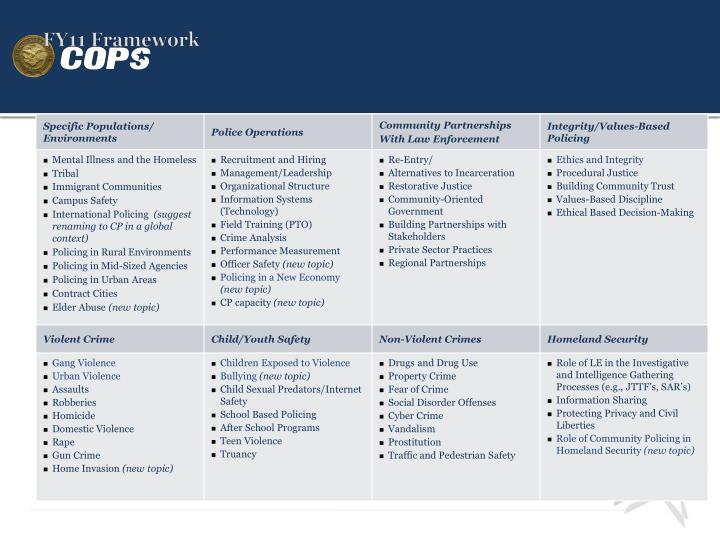 FY11 Framework