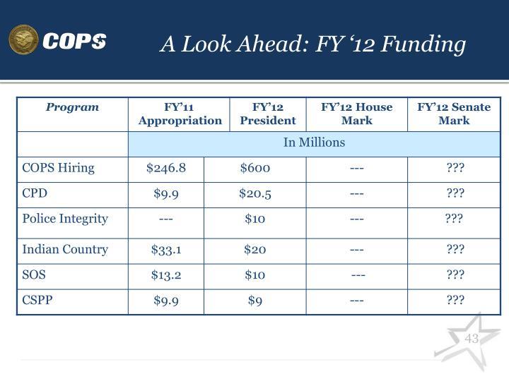 A Look Ahead: FY '12 Funding