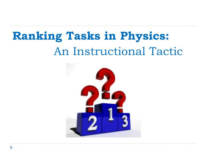 Ranking Tasks in