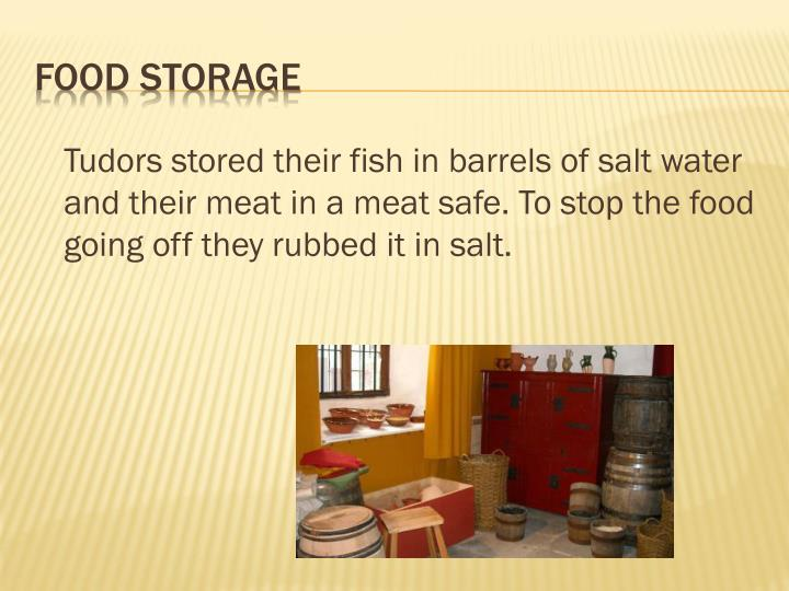 Tudors stored their fish in barrels of salt water and their meat in a meat safe. To stop the food going off they rubbed it in salt.