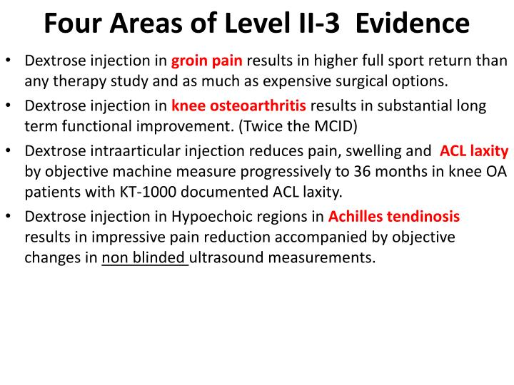Four Areas of Level II-3  Evidence