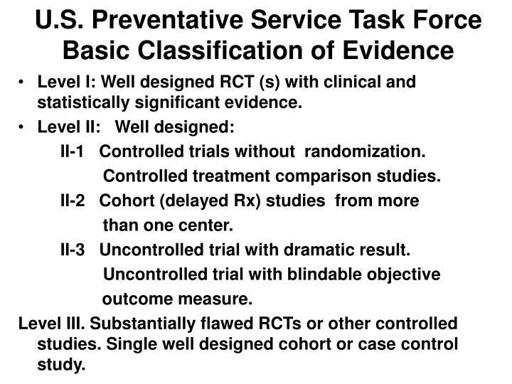 U.S. Preventative Service Task Force  Basic Classification of Evidence