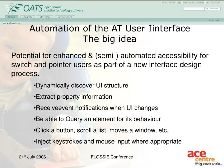 Automation of the AT User Iinterface