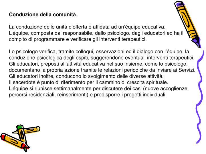 Conduzione della comunità